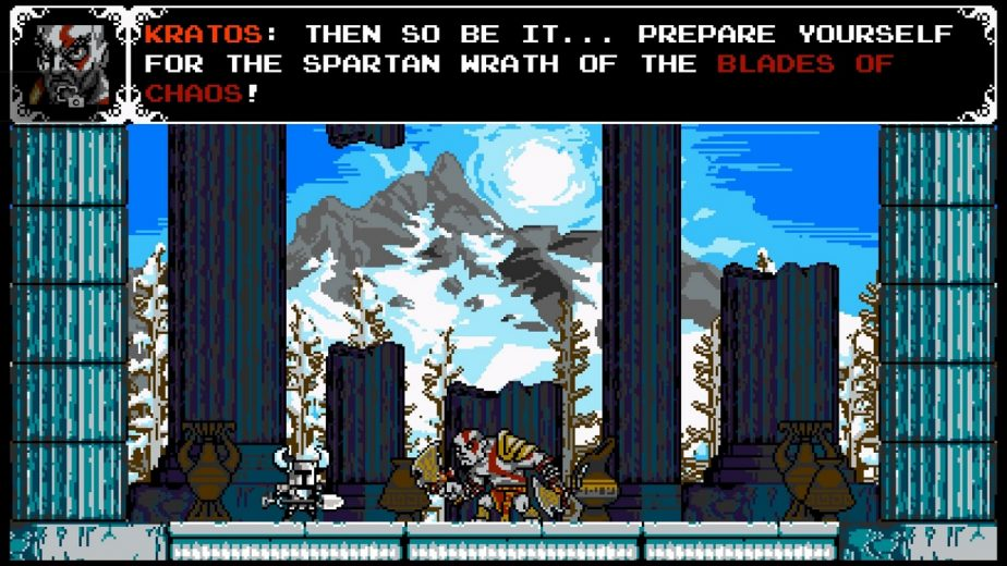 Kratos Featured as a Boss Fight on the PlayStation Version of Shovel Knight