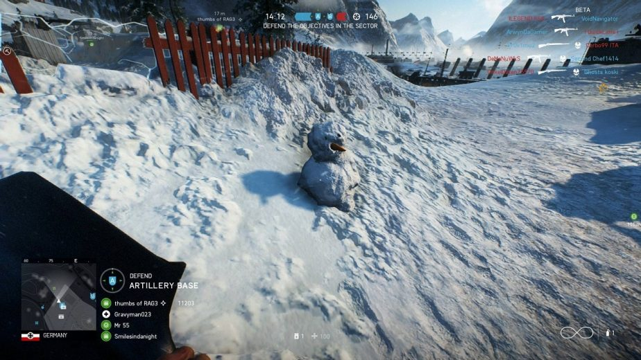 players can build a snowman in battlefield 5