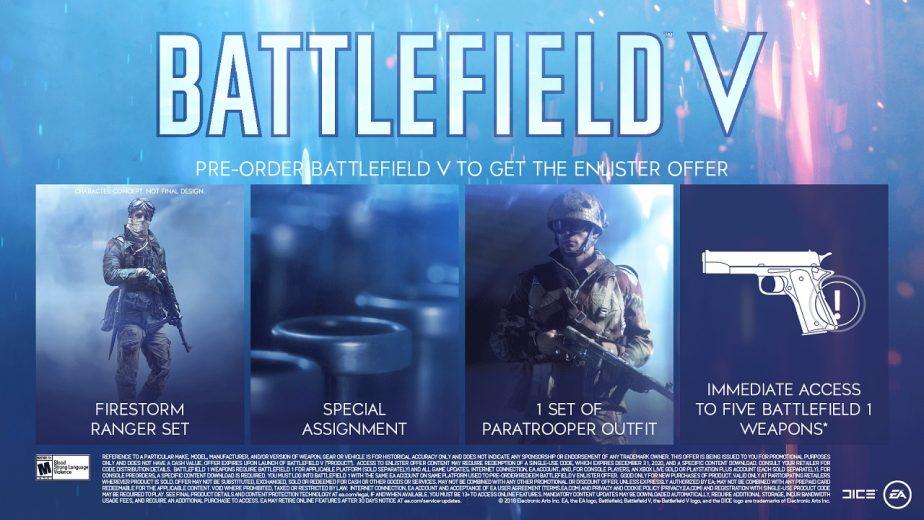 Battlefield 5 Pre-Order Enlister Offer Details