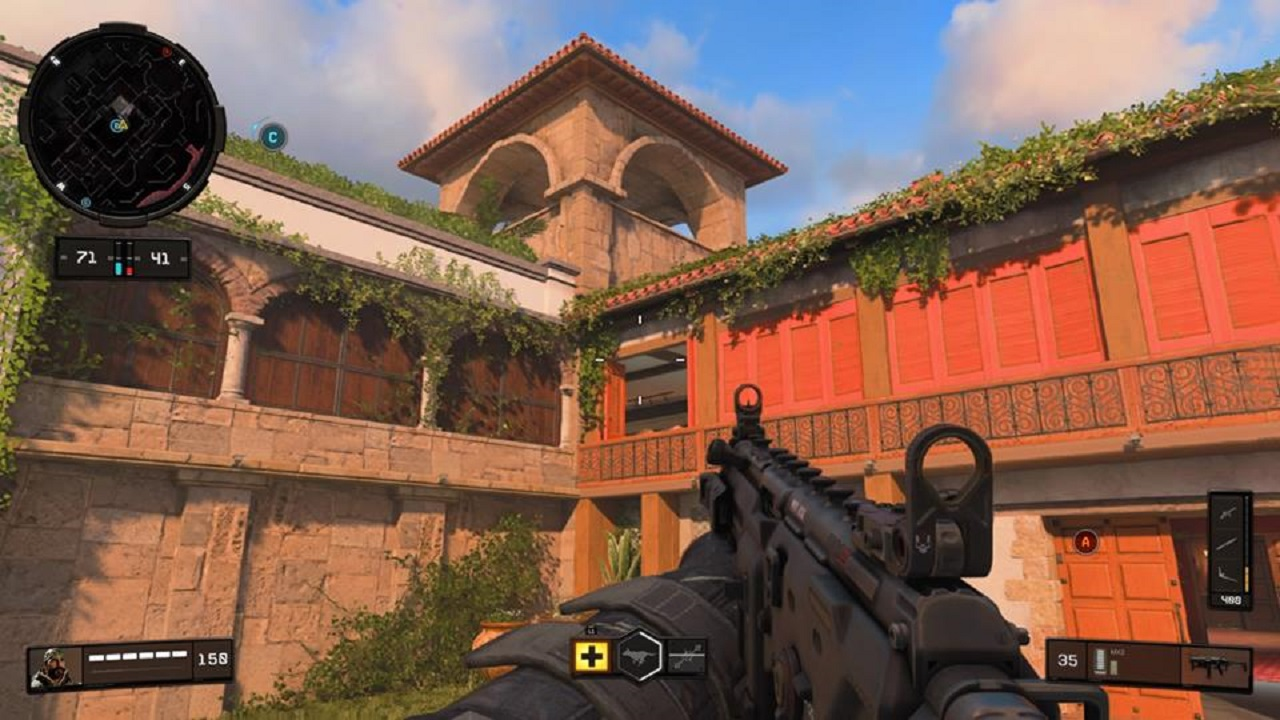 "Call of Duty: Black Ops 4's ""Hacienda"" map is organized this courtyard."