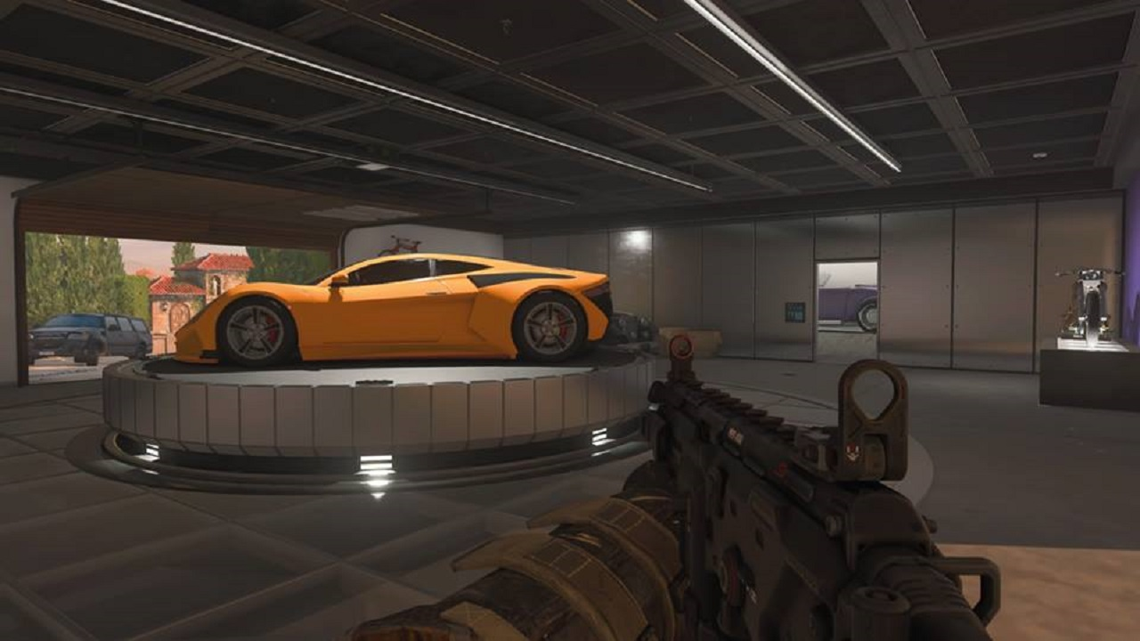 "Call of Duty: Black Ops 4's ""Hacienda"" map offers sports cars as cover."