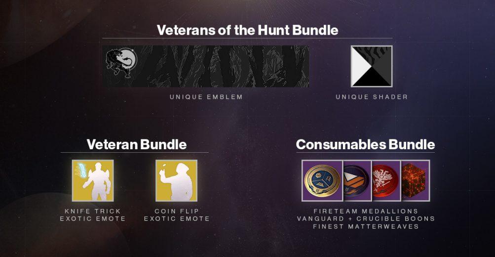 Destiny 2's Veterans of the Hunt bundle.