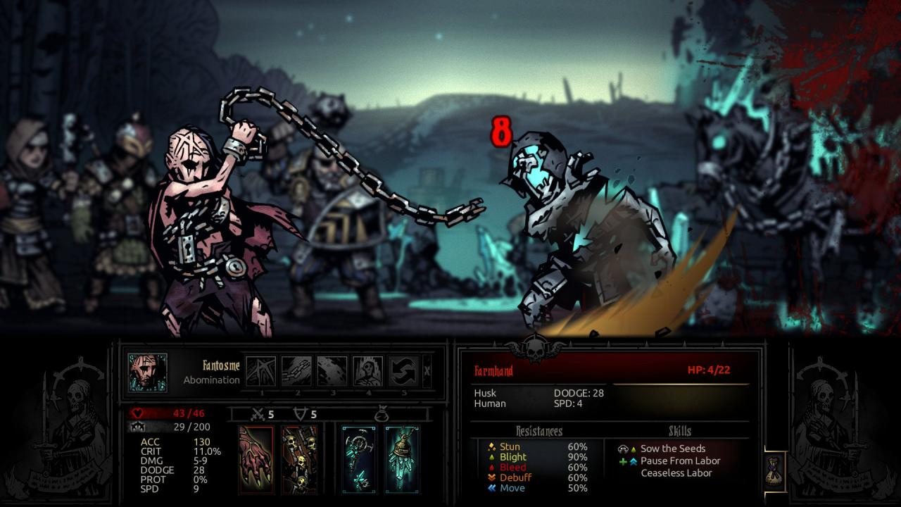 Gameplay from The Color Of Madness, the third and final DLC for Darkest Dungeon.