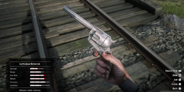 Red Dead Redemption 2: Clean your weapons to increase their stats in battle.