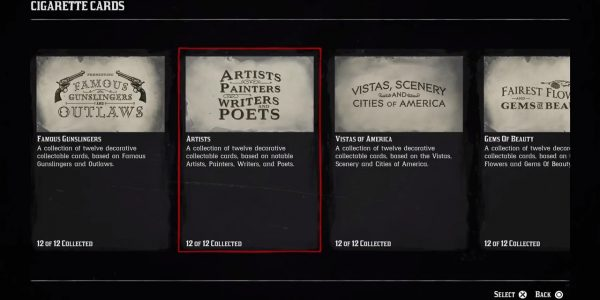 Red Dead Redemption 2 Artists, Painters, Writers, and Poets Cigarette Card guide.