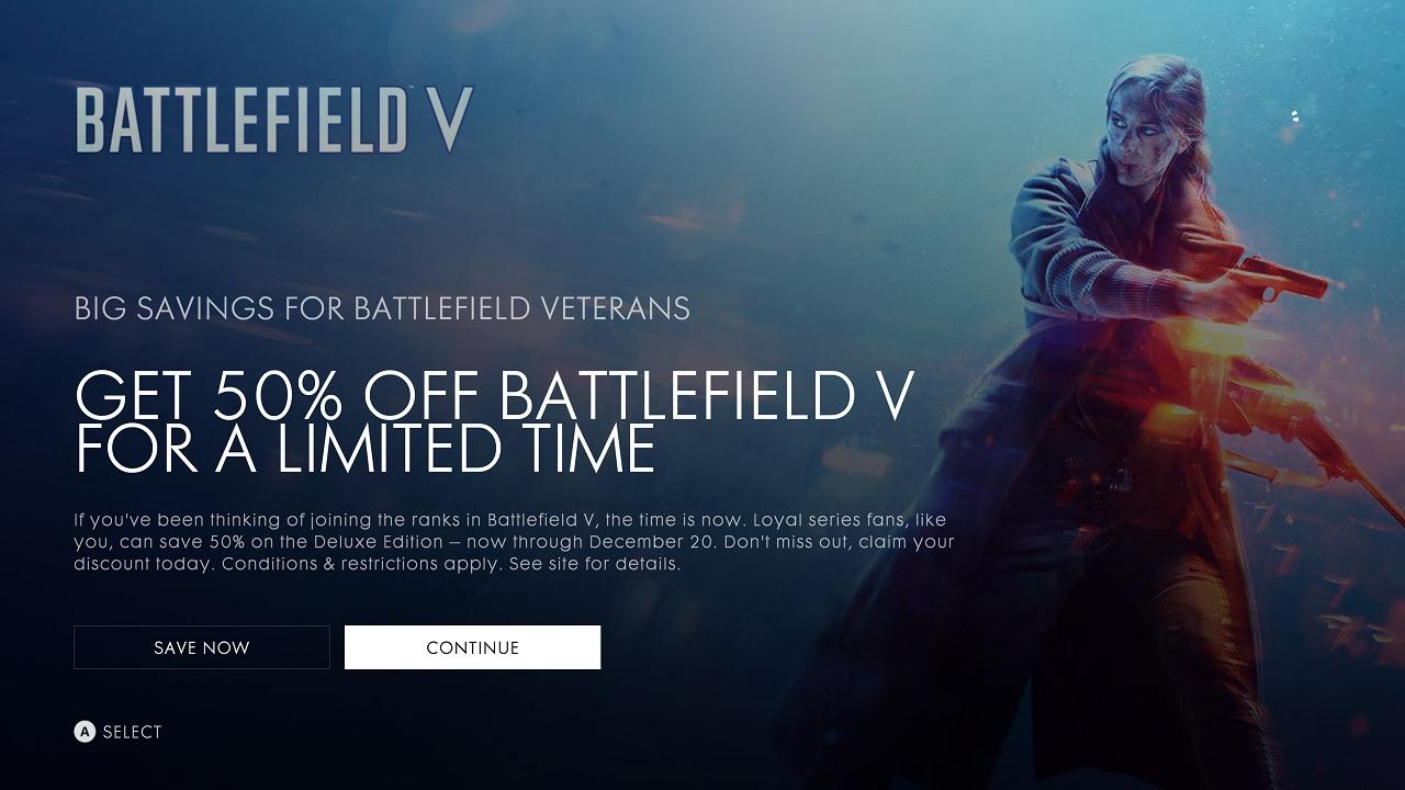 Battlefield 5 Currently Half-Price for Battlefield Series Fans