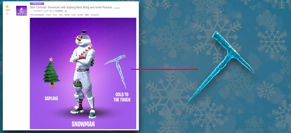 A Fortnite fan's icicle pickaxe design has made it to the game.