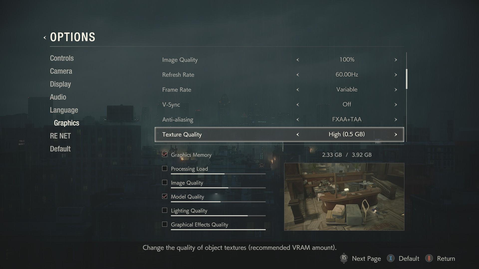 Resident Evil 2 PC graphics settings menu