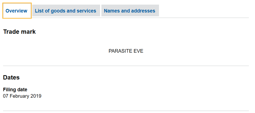 This is the Trademark Overview for Parasite Eve in the UK
