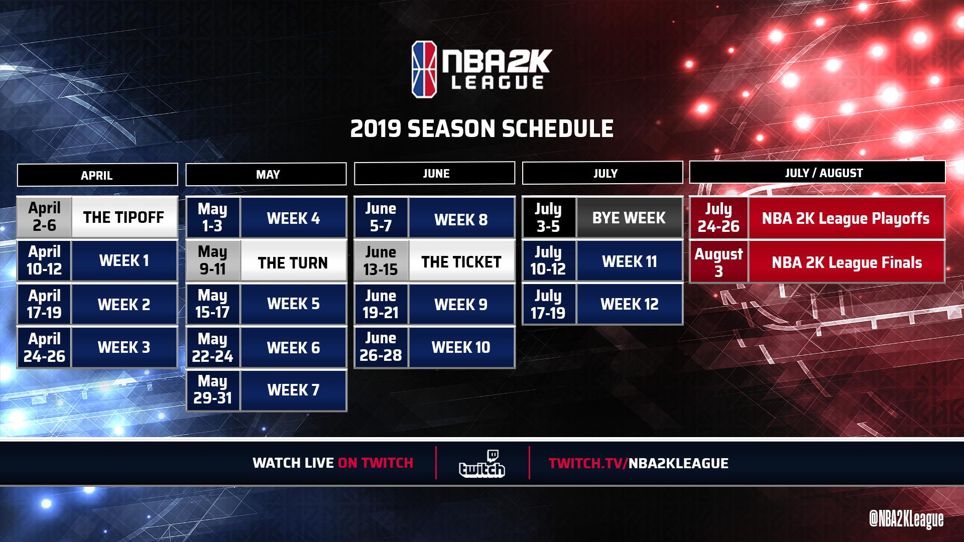 nba 2k league schedule for 2019 season