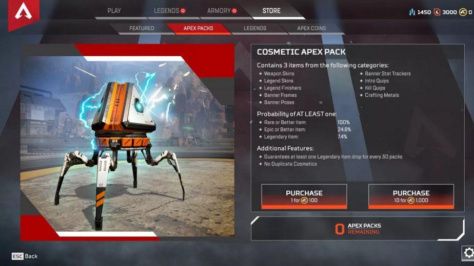 Apex Legends Lootboxes Appear as Apex Packs