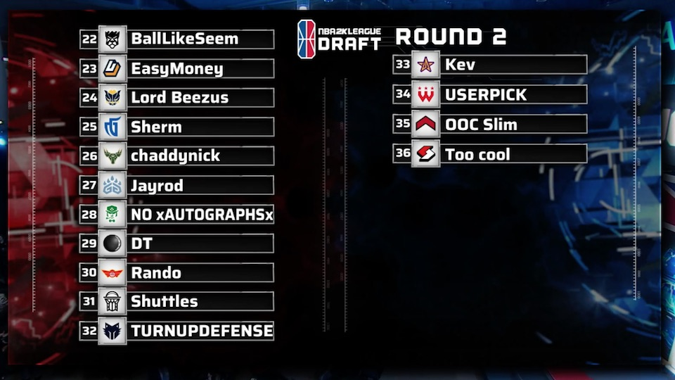 nba 2k league draft results 2019 round 2