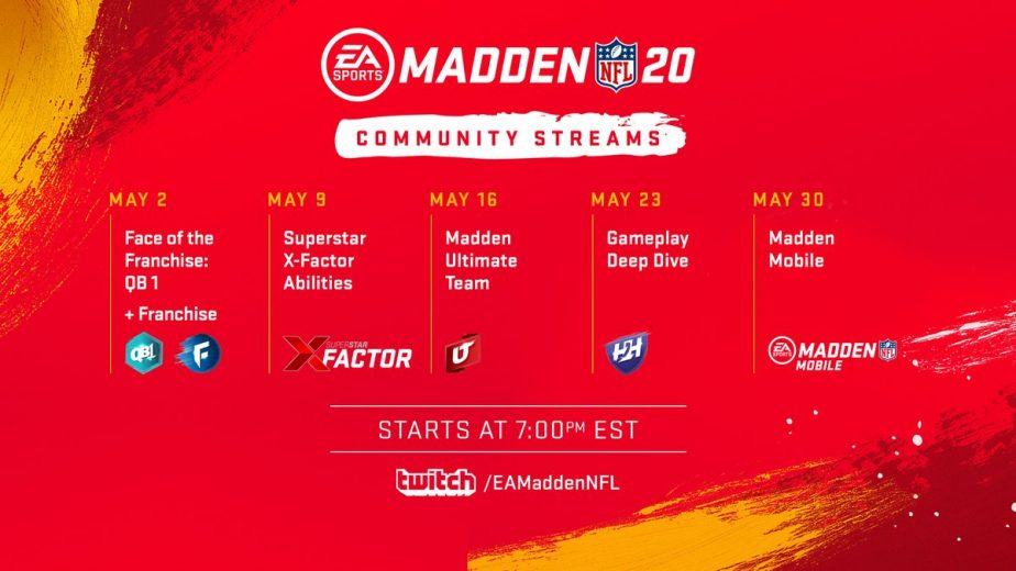 Madden 20 features Twitch community streams schedule