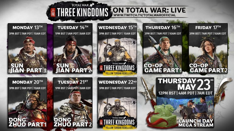 Total War Three Kingdoms Livestreams Announced