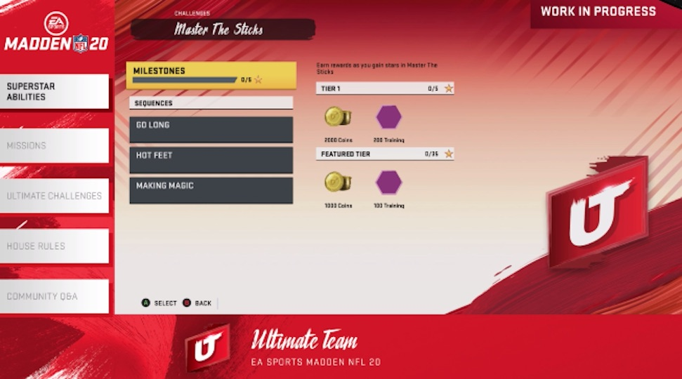 a look at the Masters the Sticks Milestones for Ultimate Team Challenges and Missions
