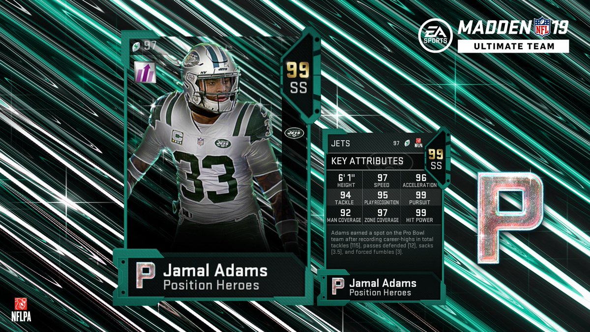 jamal adams madden 19 position heroes card with key attributes