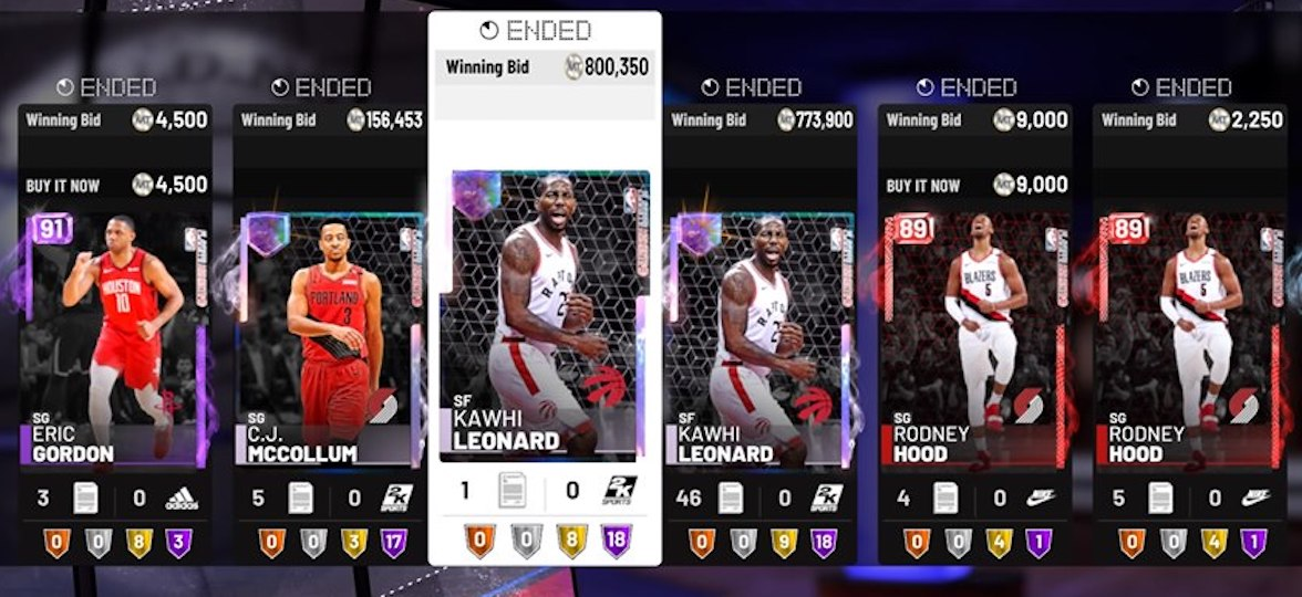NBA 2K19 auction house prices for cj mccollum, kawhi leonard playoff moments cards