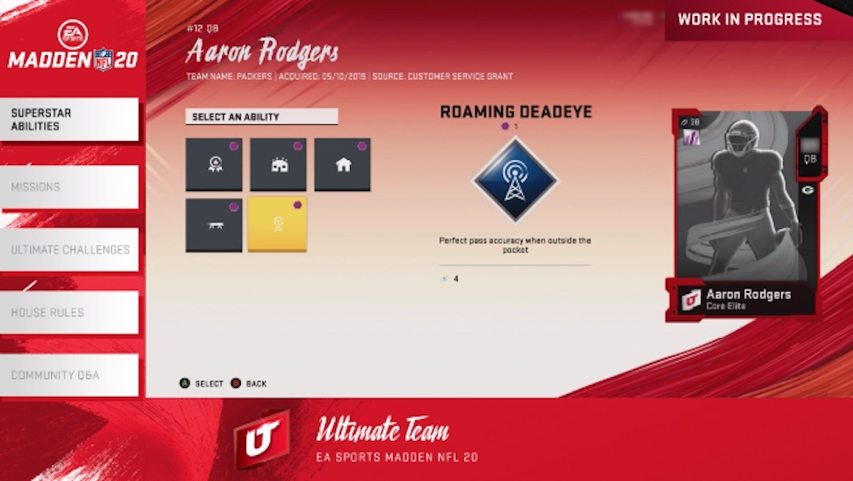 Madden 20 Aaron Rodgers abilities screen