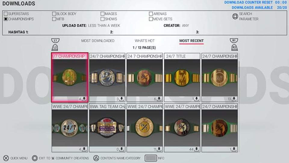 PS4 community creations showing the new 24/7 championship belts designed by fans