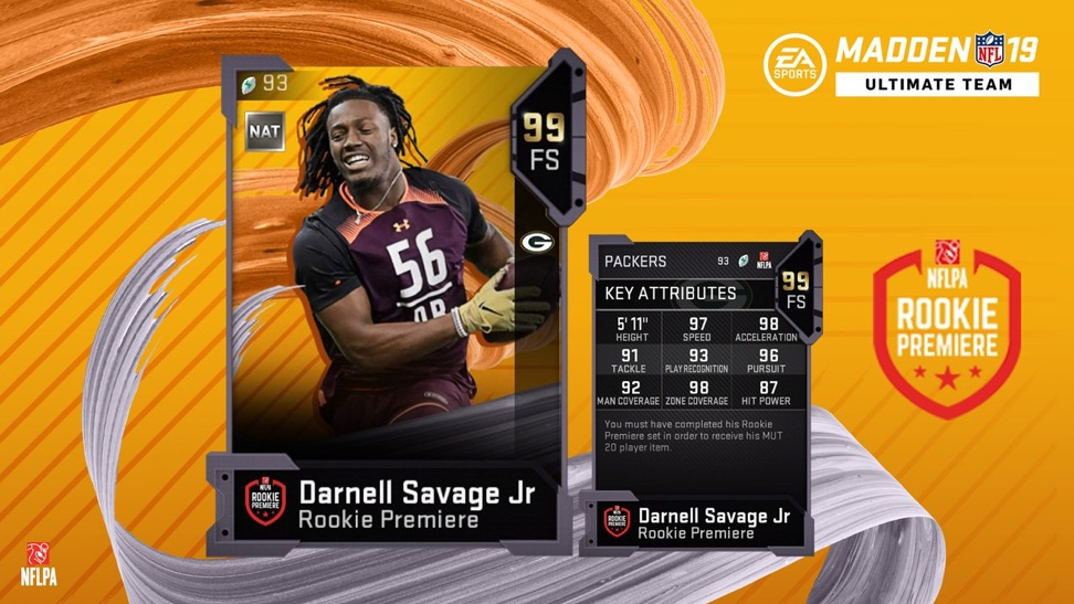 madden 19 rookie premier card for darnell savage jr