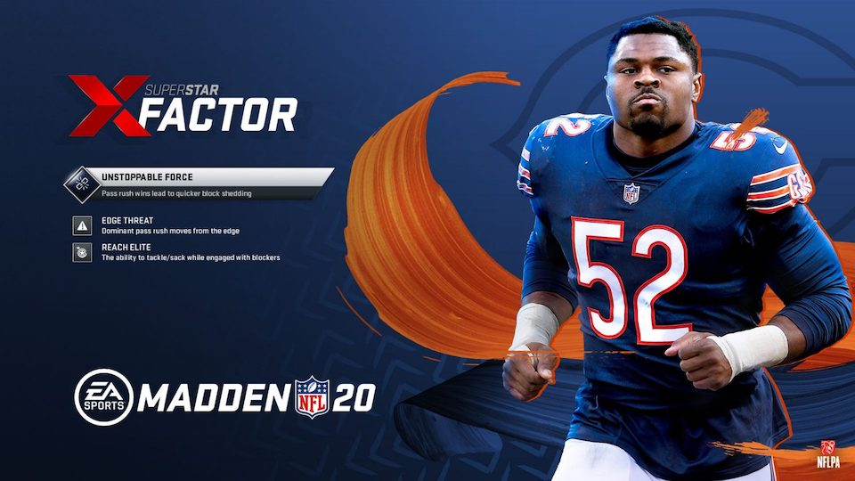 chicago bears LOLB Khalil Mack and his Madden 20 Superstar abilities