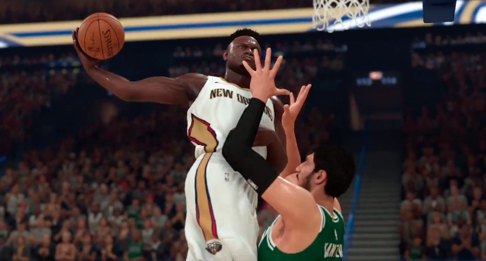 nba 2k20 shows zion williamson postering enes kanter in the game