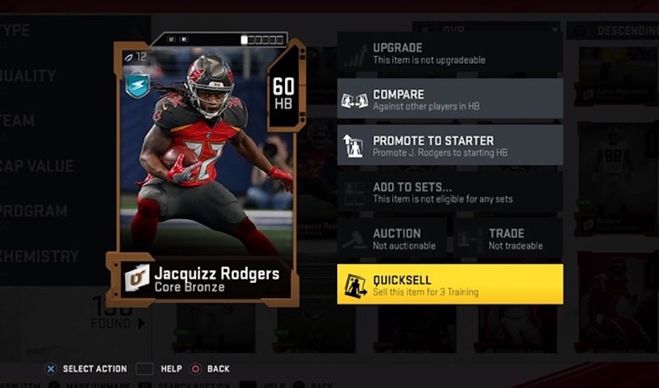 Madden 20 quicksell card in ultimate team for training