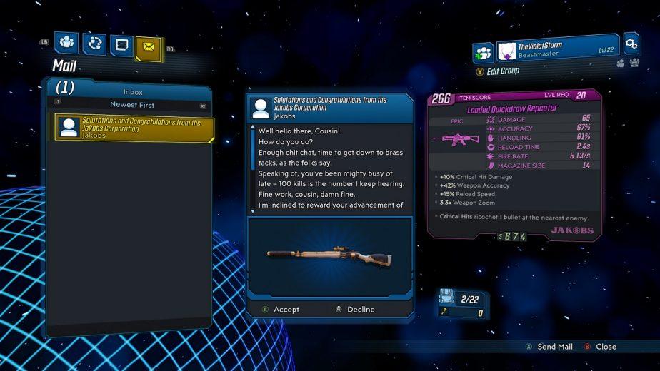 Borderlands 3 Mail Rewards