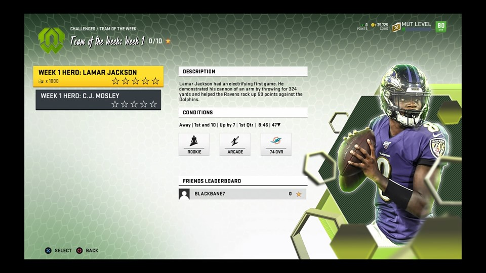 madden 20 team of the week challenge for lamar jackson