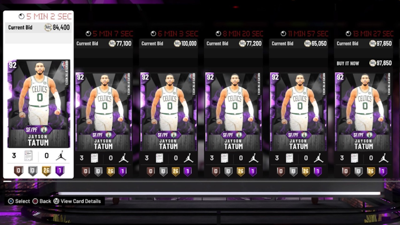 nba 2k20 moments of the week 2 jayson tatum amethyst card auction prices