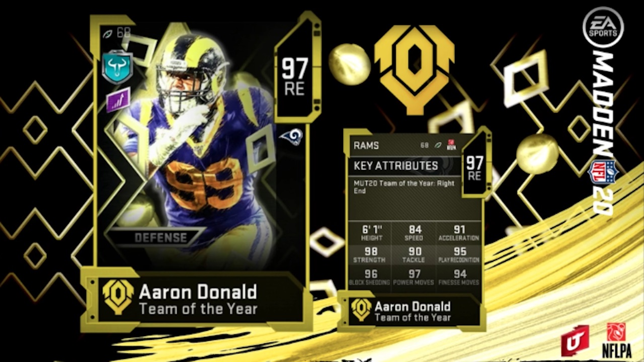 madden 20 team of the year aaron donald card