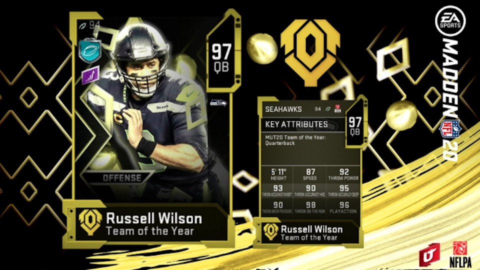 madden 20 team of the year offense Russell Wilson card