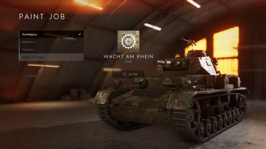 Battlefield 5 Tank Body Customisation in Update 6.2