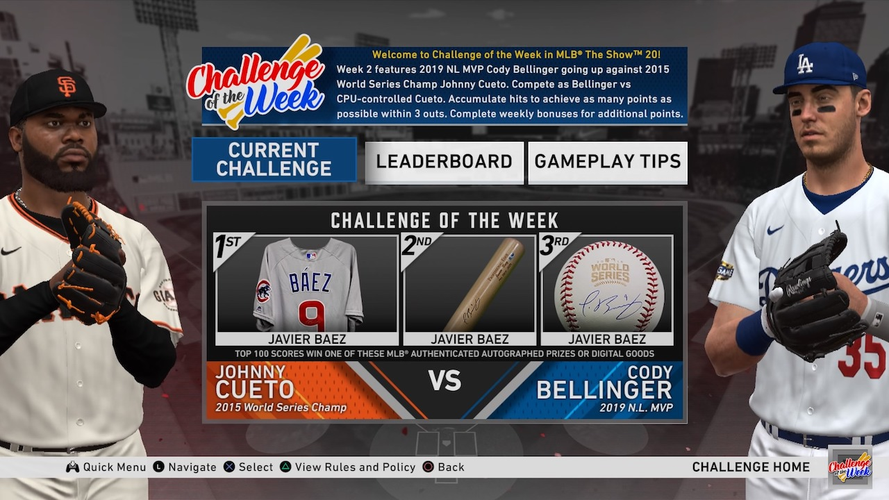 mlb the show 20 weekly challenge bellinger vs cueto