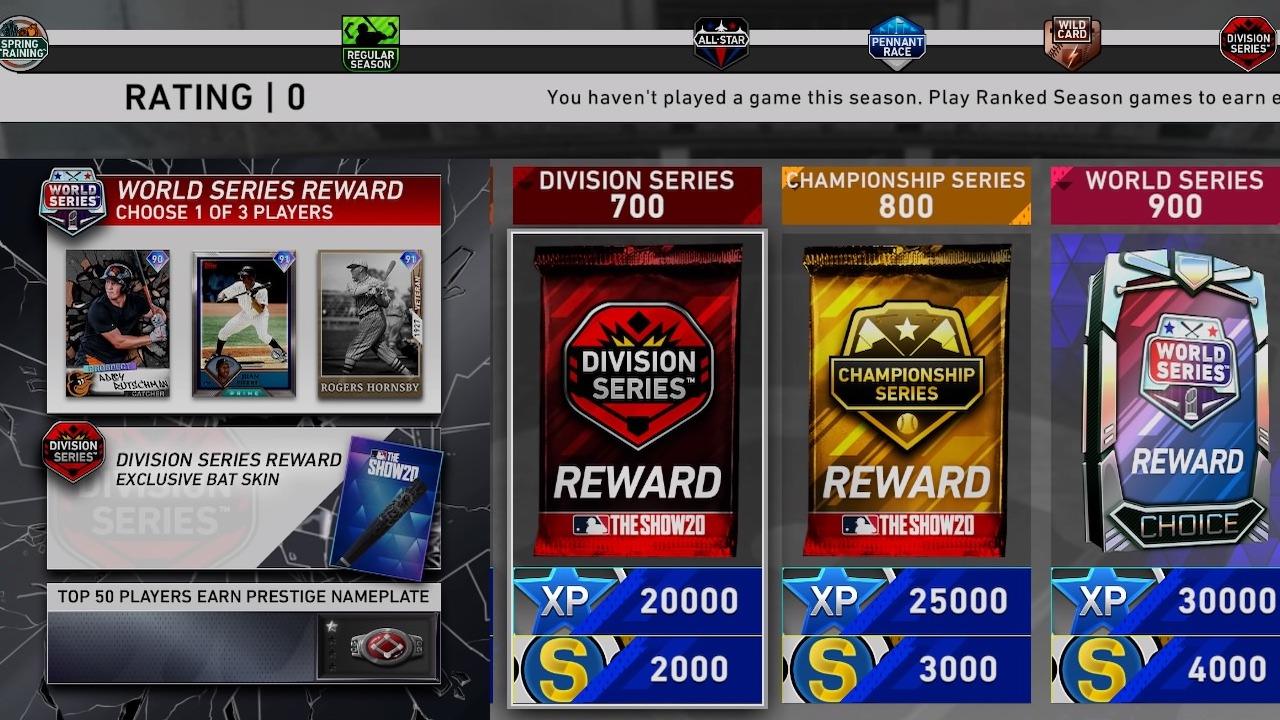 mlb the show 20 ranked seasons rewards including stubs