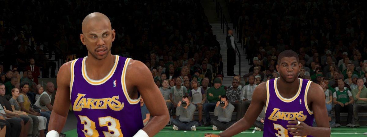 NBA 2k20 showtime packs goat magic Johnson and Kareem Abdul jabbar galaxy opals