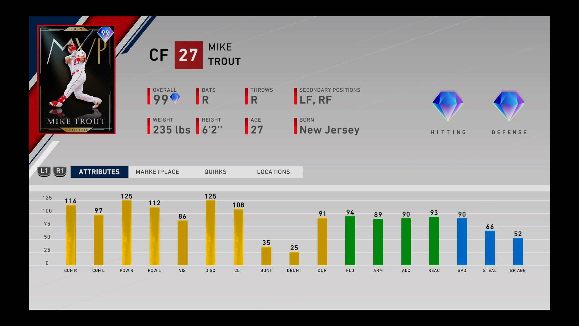 mike trout 99 overall diamond master collection reward