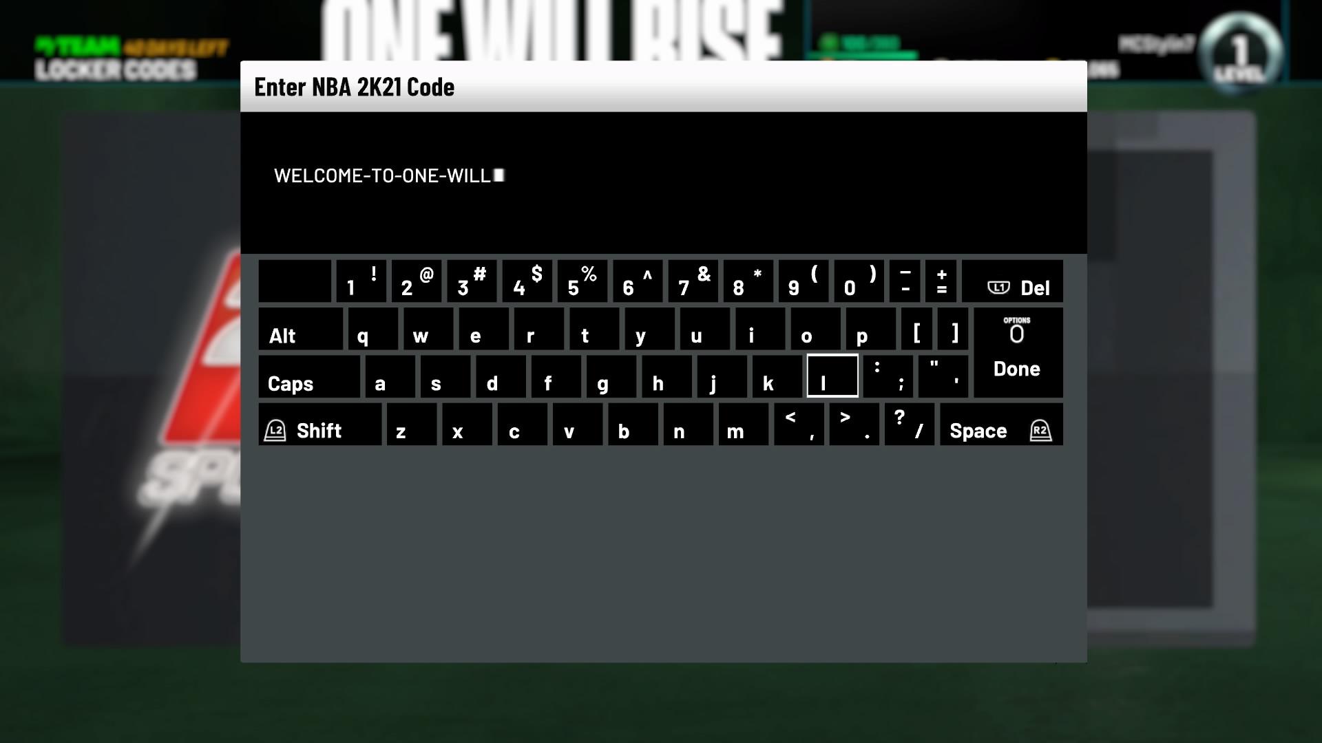 nba 2k21 locker code entry screen