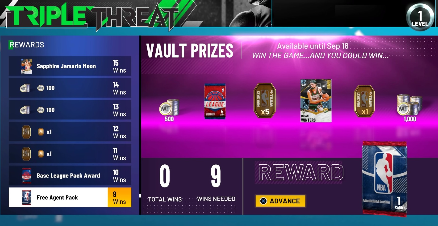 nba 2k21 myteam triple threat rewards