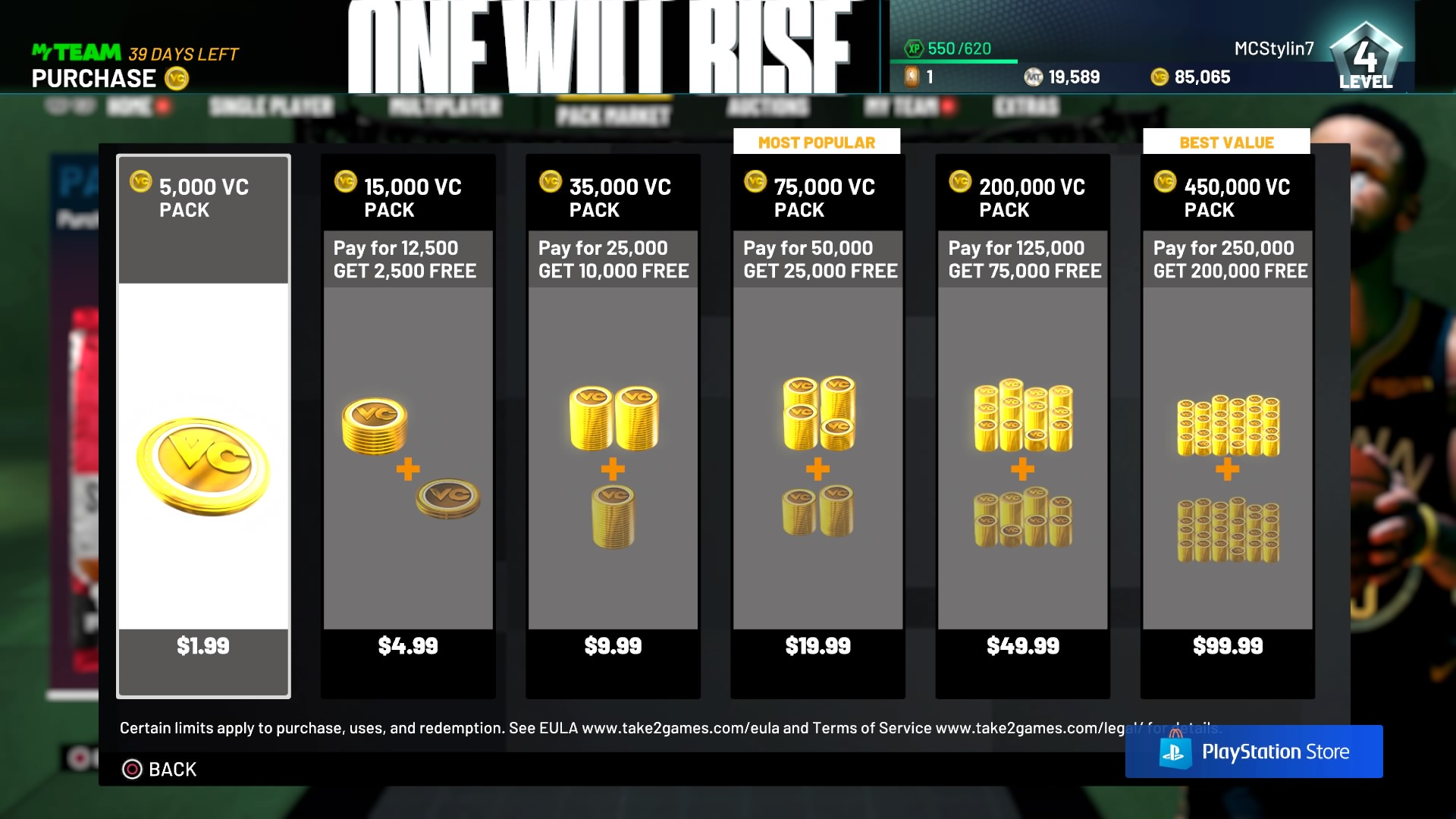 nba 2k21 virtual currency costs