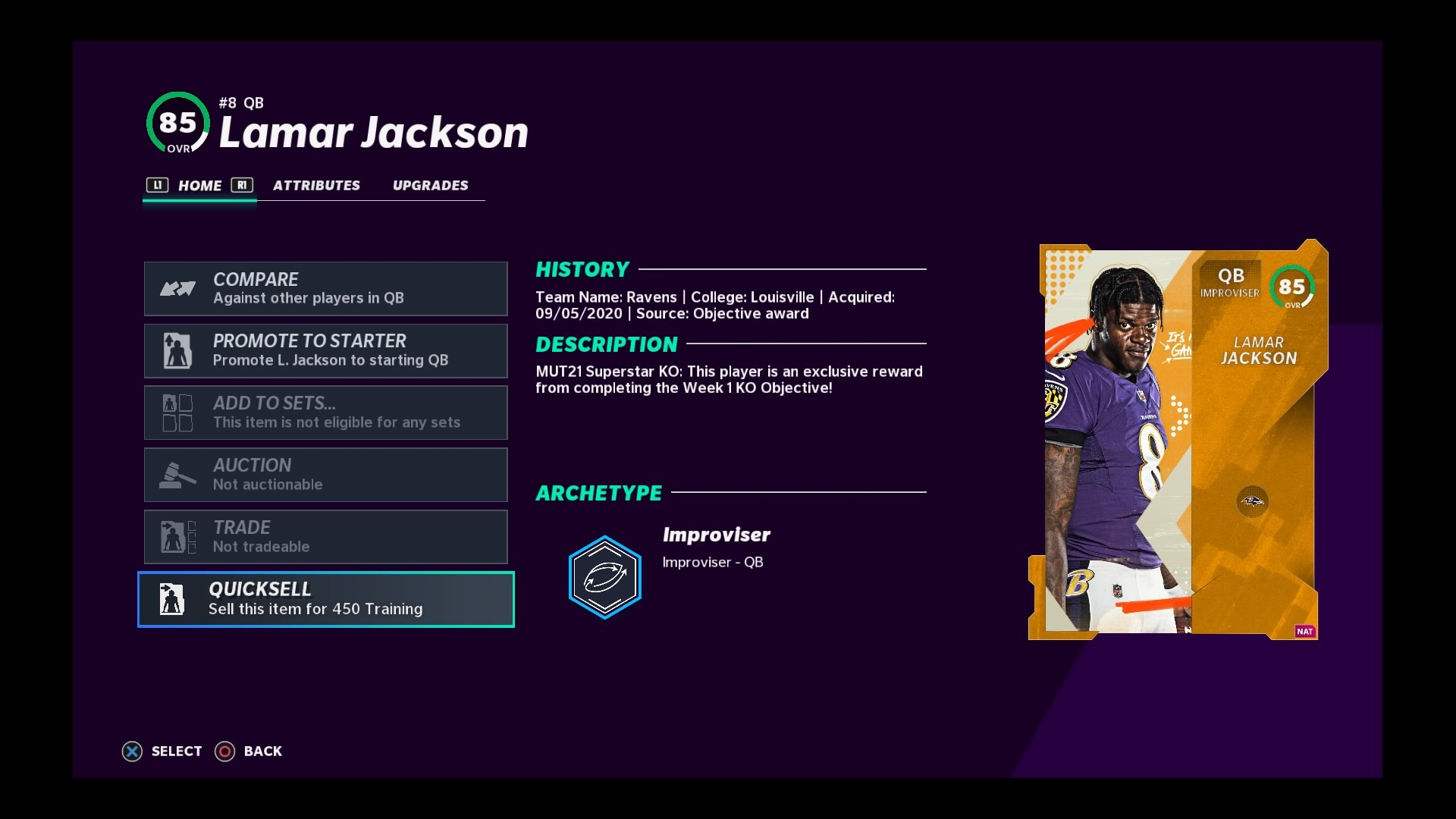 madden 21 superstar ko lamar jackson card