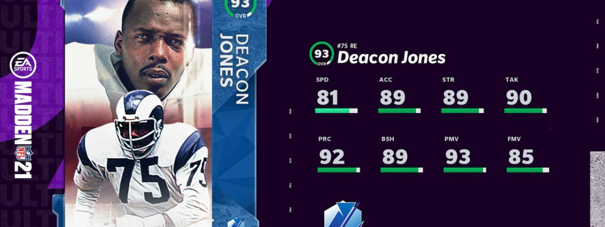 Madden 21 Legends Group 9 Deacon Jones and Edgerrin James