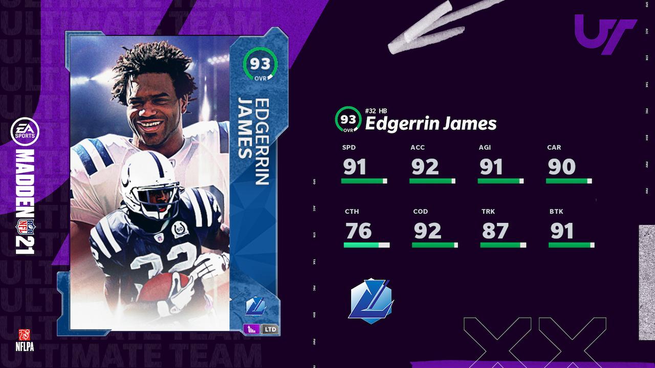 madden 21 legends group 9 edgerrin james card