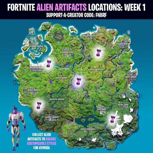 Fortnite Alien Artifacts locations for Week 1 of Season 7