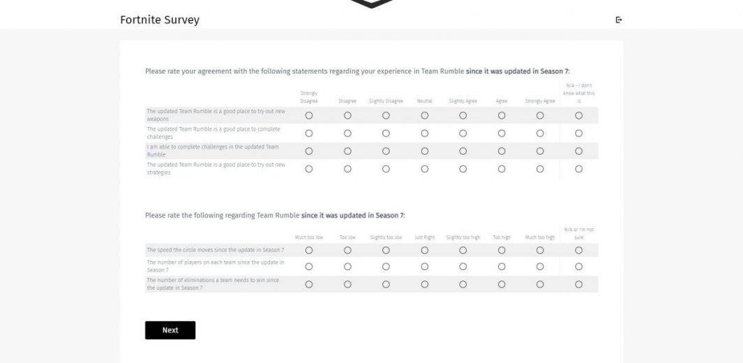 Fortnite developer sends a Team Rumble survey to players