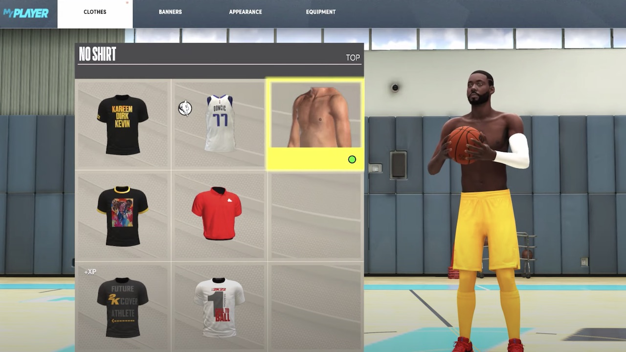 how to get shirt off nba 2k22 myplayer