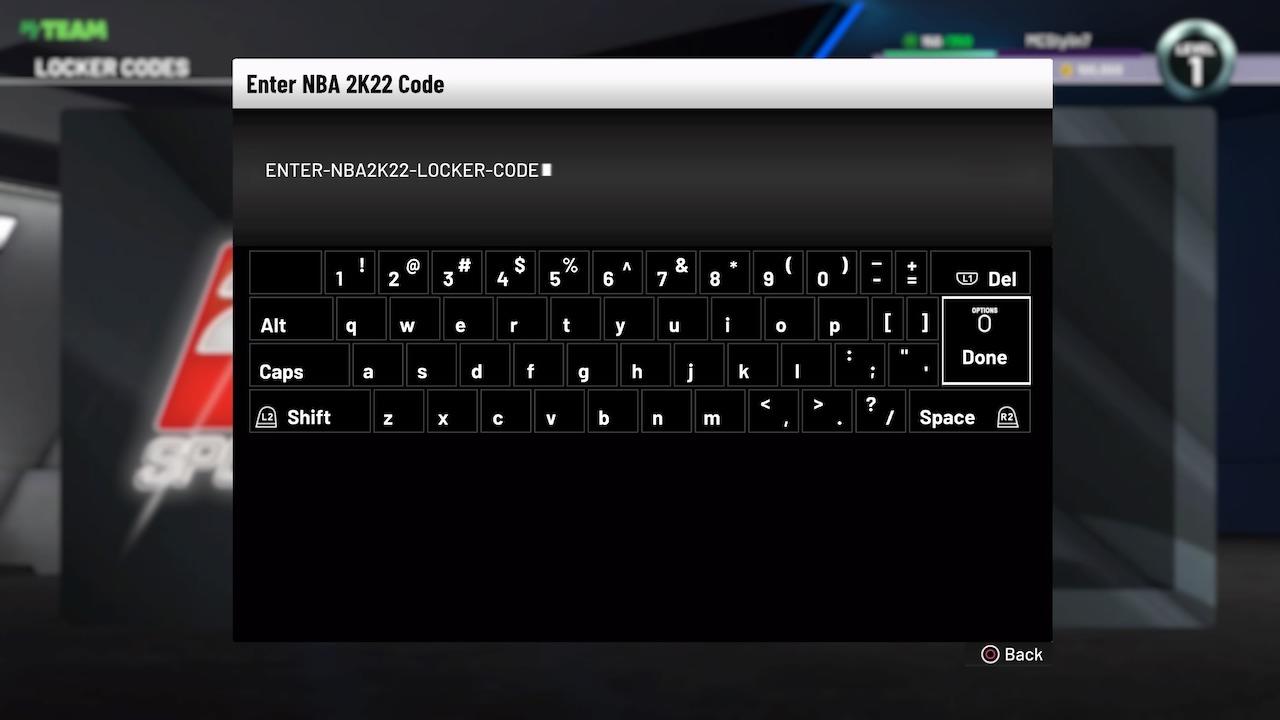 nba 2k22 locker codes entry screen