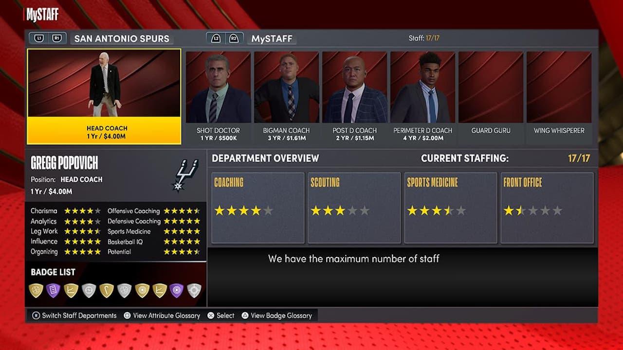nba 2k22 mynba coaching staff positions