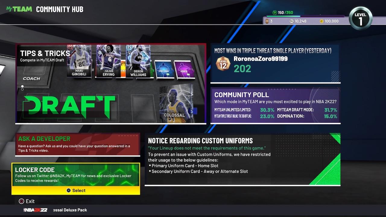 nba 2k22 myteam community hub screen