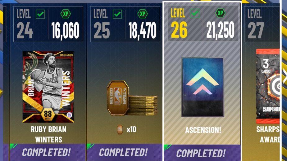 nba 2k22 tokens as level rewards for myteam